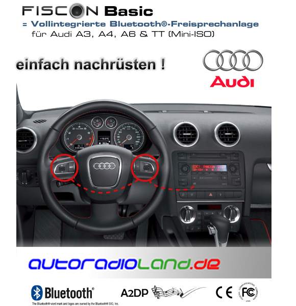 freisprechanlage mit bluetooth fiscon basic fuer audi. Black Bedroom Furniture Sets. Home Design Ideas