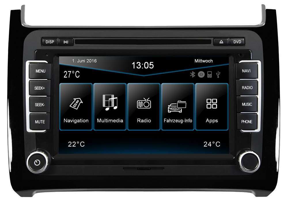 car hifi esx naviceiver vn720 vo p6c black navigation f r vw polo 6c mit bluetooth online. Black Bedroom Furniture Sets. Home Design Ideas